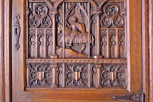 Oak overhanging cabinet. Karl von Rydingsvard.