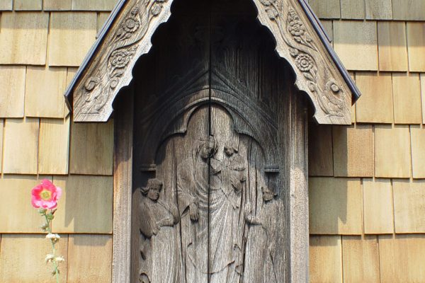 Madonna and Child shrine on exterior wall. Karl von Rydingsvard