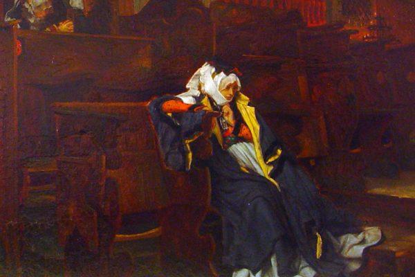 detail of Marguerite in Church. James Tissot. 1865